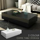 Modern Coffee Table 4-Drawer Side Table High Gloss Living Room Furniture BK/WH