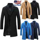 Mens Vintage Parka Trench Winter Coat Warm Long Jacket Breasted Overcoat Top Lot