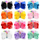 New JoJo Siwa Pure Color Hair Bow With Alligator Clip Girl Kids Bowknot 8 inch
