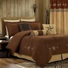 7-Pcs Embroidery Western Star Microsuede Oversized Bedding Comforter Set Brown image