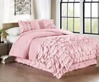 Chezmoi Collection Ella 3-Piece Waterfall Ruffle Comforter Set, Pink image