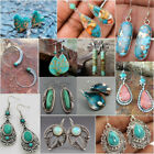 Boho 925 Sterling Silver Turquoise Dangle Hoop Earrings Women Lady Vintage Party