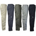Mens Elastic Casual Solid Trousers Straight Leg Military Cargo Combat Work Pants
