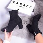 New Womens Sock Fit Ankle Boot Ladies Smart Zip Up High Heel Black Shoe Size