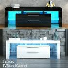 TV Stand Entertainment Unit 2 Drawers Wood Storage Cabinet BK/WH w/Free RGB LED