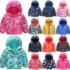 Girls Kids Padded Quilted Jacket Cartoon Animal Warm Coat Hooded Parka Outwear