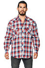 LW Men's Plaid Checkered Western Rodeo Cowboy Pearl Snap Button Up Dress Shirt