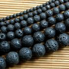 Natural Nature Black Volcanic Lava Gemstone Round Beads 15""