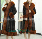 Women Real Fox Fur Collar Marten Coat Long Style Loose Parka Stitching Color