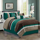 Chezmoi Collection 7-Piece Quatrefoil Pleated Striped Comforter Set, Teal/Brown image