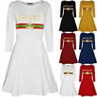 Womens Royalty Print Jersey Flared Long Sleeve Party Swing Ladies Skater Dresses
