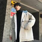 Young Mens Winter Fashion Hood Faux Lamb Wool Lining Coats Loose Warm Outwear SZ