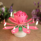 Musical Birthday Cake Candle Lotus Flower Floral Rotating candle