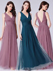 Ever-Pretty Womans Elegant V-neck Long Evening Dress Chiffon Prom Dresses 07526