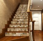 3D  Brown Pattern 1 Tile Marble Stair Risers Decoration Mural Vinyl Wallpaper UK