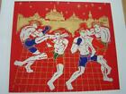 Thai Silk print painting Muay Thai or Kick Boxing picture without frame MM1