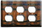 RUSTIC OLD WOOD WINE BARREL LIGHT SWITCH OUTLET PLATE RANCH BARN CELLAR HD DECOR