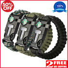 3Pcs Survival Paracord Bracelet Multi Tool Embedded Compass Fire Starter Hiking
