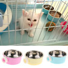 Blue/Yellow/Pink Cage Hanging Stainless Steel Pet Dog Puppy Food Water Bowl