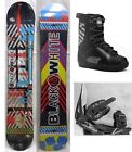 "NEW BLACK & WHITE ""SOUND"" SNOWBOARD, BINDINGS, BOOTS PACKAGE - 154cm"