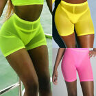 Women Fishnet Solid Leggings See Through Pants Slim Cycling Mesh Shorts