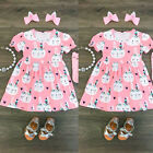 US Canis Toddler Girls Easter Dress Princess Bunny Print Floral Dresses Clothes