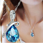 Fashion Jewelry Women Heart Crystal Rhinestone Silver Chain Pendant Necklace