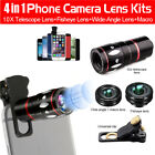 4 in 1 Cell Phone Camera Lens Kits Fisheye Wide Angle Macro 10X Telescope Lens