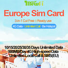 Mewfi VDF Europe Travel Sim Card 10/15/20/25/30/35Day 500MB/Day 4G Data+Call+SMS