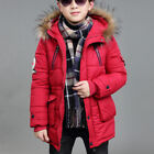 Boys Hooded Puffer Coat Faux Fur Outerwear Kids 2019 Winter Warm Jacket Overcoat