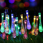 30 LED Outdoor Garden Solar String Colorful Lights Rain Drop Fairy Waterproof UK