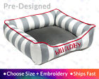 Grey Stripe Cat Bed Dog Bed - Durable Micro Velvet Seat   Personalized Cat Bed