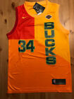 Giannis Antetokounmpo 34 City Edition Mens Orange Milwaukee Bucks Sewn Jersey
