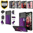 Bling Shockproof Case, Rugged Armor Cover, W/ Leather Card Holder Slot, Glitter
