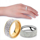 Couple Stainless Steel Gold Silver Crystal Ring Men Women Wedding Band Rings G
