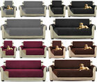 Reversible Quilted Sofa Cover Furniture Protector Throw Waterproof With Strap