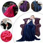 1x Deluxe Flannel Coral Warm Fleece Blanket Super Soft Adult Home Throw Sofa Bed image