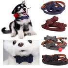 UK Adjustable Personalized Dog Bow Tie Collars Leather Pet Collar for Dogs S M L