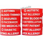 1 Red Medical Alert Wristband Bracelet - Med Condition Silicone Alert Band