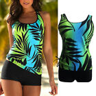 Women Padded Leaf Print Tankini Sporty with Boy Short Bathing Swimsuit Swimswear