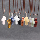 Cross Natural Stone Quartz Charms Pendant Necklace Women/Men Jewelry Choker SL