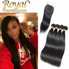 10A Straight Unprocessed Brazilian Human Hair 4 Bundles With Closure Free Part
