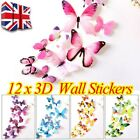 12 X 3d Decal Colourful Butterflies Wall Stickers Home Decor G