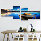 4pcs Large Blue Sky Lake Boat Canvas Print Painting Pictures Wall Art Home