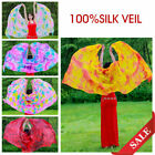 Colorful Gradient Womens 100 Silk Scarf Shawl Belly Dance Waving Veil Stage