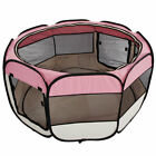 Pet Dog Cat Playpen Mesh Tent Portable Exercise Fence Kennel Cage Foldable