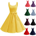 Women's 50s Vintage Style Sleeveless Dress Lolita Back V-neck Swing Short Prom