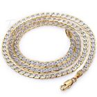 "4mm Hammer Curb Cuban Mens Chain Womens Yellow/White Gold Filled Necklace 18-36"" image"