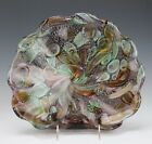 Vintage Murano Italy Silver Fleck Amethyst Clam Scalloped Art Glass Bowl NR DFC