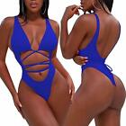 ALLureLove Women Bathing Suits Sexy High Cut Out One Piece Swimsuits Thong Bikin